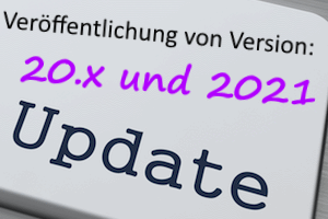 Info graphic RSS feed: Neue Version 20.x und 2021