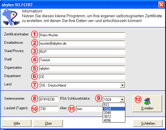 Click to view abylon SELFCERT 7.0 screenshot