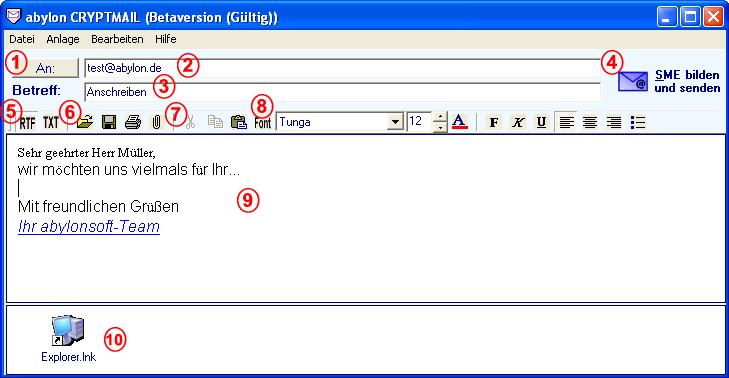 Screenshot vom Programm: abylon CRYPTMAIL