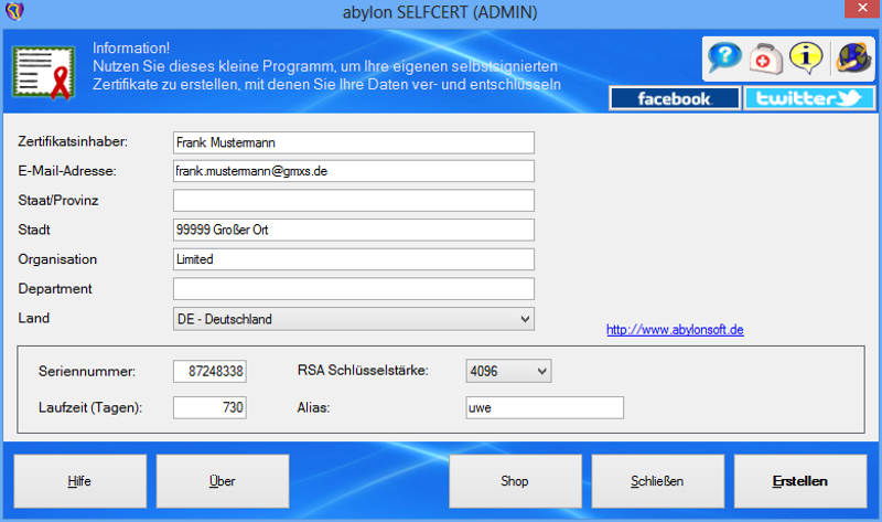 abylon SELFCERT Screen shot